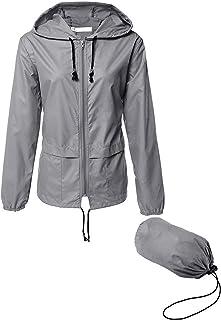 LOMON Lightweight Waterproof Raincoat For Women Packable Outdoor Hooded Rain Jacket