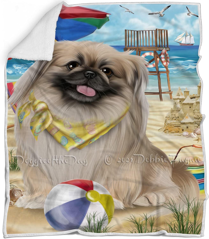 Pet OFFicial site Friendly Beach Pekingese Dog Blanket Multicolor Japan Maker New Fluffy - War