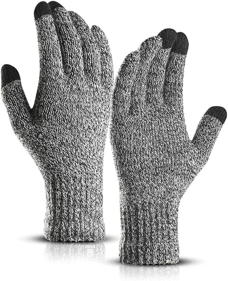 Touch Screen Knitted Gloves Men Women Thicken Wool Mitten Outdoors Anti-Slip Warmer Couple Gloves grey1