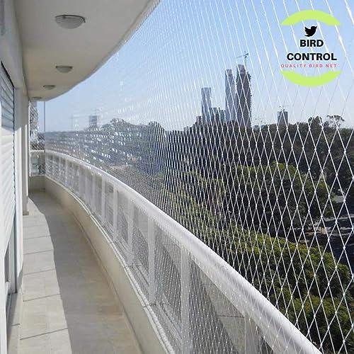 Bird Control Nylon Anti-Bird Net UV Stabilized Transparent Monofilament Knotted Nylon Bird Net with Cable Ties & Tyin...