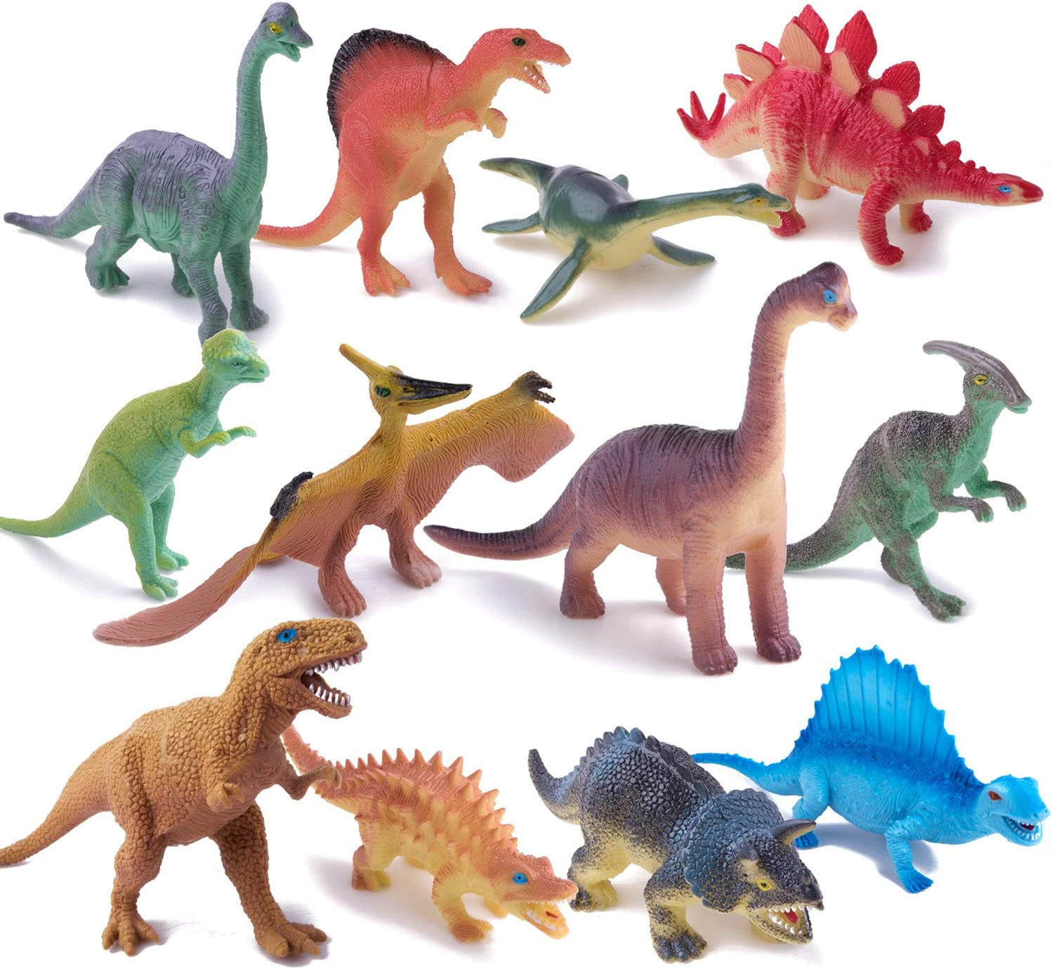 """Peruser Dinosaurs Toys 12-Pack 5"""" to 7"""" Realistic Dinosaur Figures with..."""