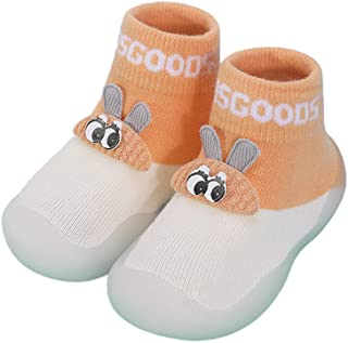 NA., NA. Nangjiang bebé bebé de punto antideslizante zapatillas calcetines de dibujos animados conejo orejas impermeable goma inferior invierno caliente primer andador zapatos