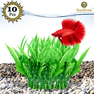 SunGrow Lifelike Amazon Sword Plant, Fish Tank Plastic Decoration, Serves as Betta's Playground, Provides Hiding Spot for The Young, Creates Beautiful Aquatic Background Décor