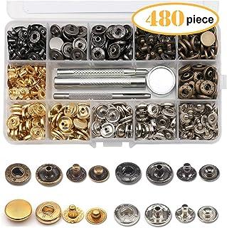 120 Set Corchetes de Presión de Metal, Remaches Cuero Botones de Cobre con 4 PCS Herramientas de fijación, 12.5 mm en Diámetro, 4 Colores