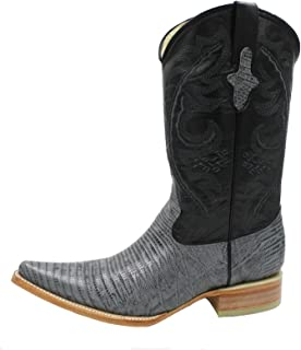 Men Genuine Cow Hide Leather Lizard Print Grey Color 3X Toe Cowboy Boots