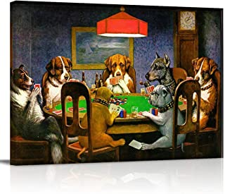 Painting on Canvas Wall Art-Pokers Dogs (or Dogs Playing Cards) by C. M. Coolidge Photo Prints Modern Artwork for Bed Bathroom Dining Room Home Decor,Stretched and Framed Ready to Hang,12x16in