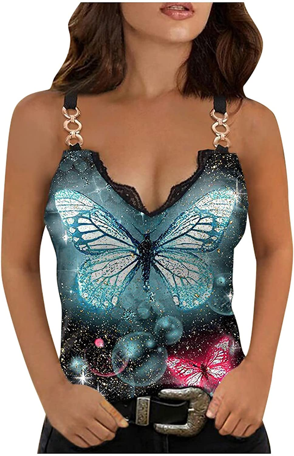 Juniors Women's Chain Vest Summer Loose Casual Butterfly Print Sexy Unique V-Neck Blouse