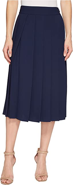 Lacoste - Twill Crepe Long Pleated Skirt