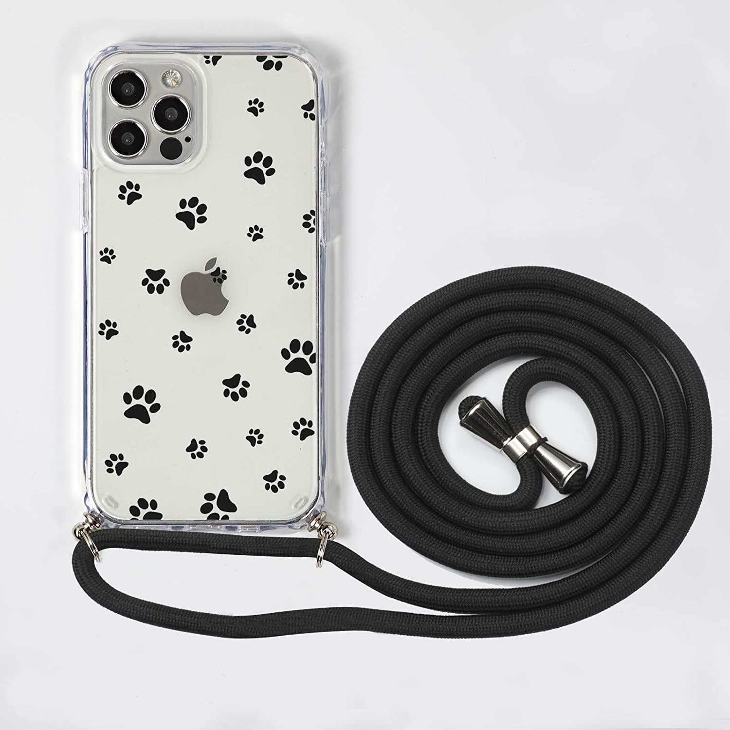 iPhone 12/12 Pro Crossbody Lanyard case,SZINTU Cute Pattern Clear Design Transparent Hard PC Back+Soft TPU Frame Anti-Fall and Shockproof Protective Cover with Adjustable Nylon Neck Strap(Footprint)