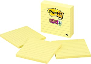Post-it Super Sticky Notes, 2x Sticking Power, 4 x 4-Inches, Canary Yellow, Lined, 3-Pads/Pack