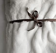 Luxury Faux Fur Oversized Throw Blanket with Plush Velvet Reverse, Fox Lynx or Gray Mink (White)