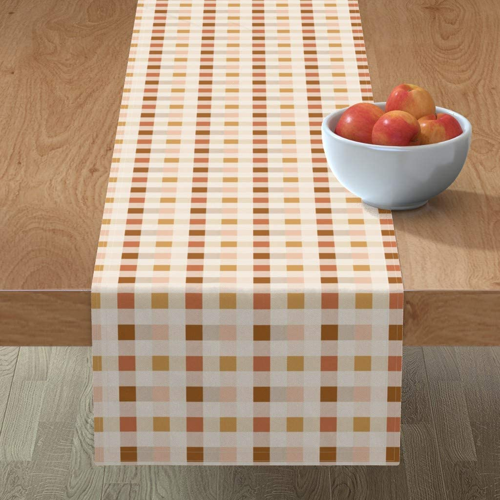 Roostery Cash special price Spoonflower Tablerunner Topics on TV Pink Retro Gingham Gold Cream