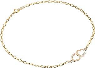 Two Hearts Ankle Bracelet, 10k Yellow Gold, 12k Green Gold, 12k Rose Gold Black Hills Gold