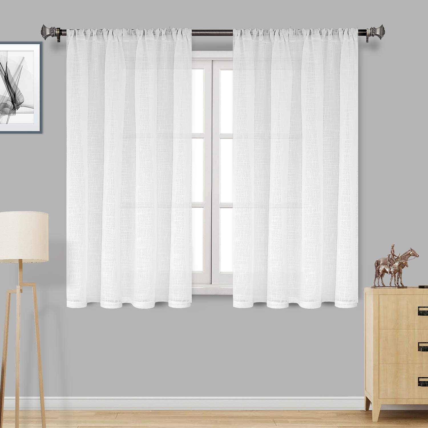 DWCN White Faux Sales for sale Linen Sheer Curtains Textured Sale special price Pocket Semi - Rod