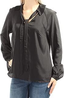 Women's Tie-Neck Jet Black Blouse Size S