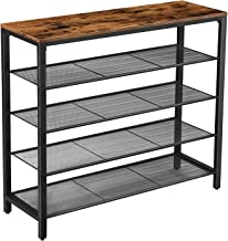 VASAGLE Shoe Rack, 5-Tier Shoe Storage Organizer with 4 Metal Mesh Shelves for 16-20 Pairs and Large Surface for Bags, for Entryway, Hallway, Closet, Industrial, Rustic Brown and Black ULBS15BX