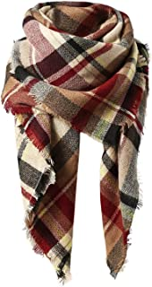 Women's Fall Winter Scarf Classic Tassel Plaid Scarf Warm...