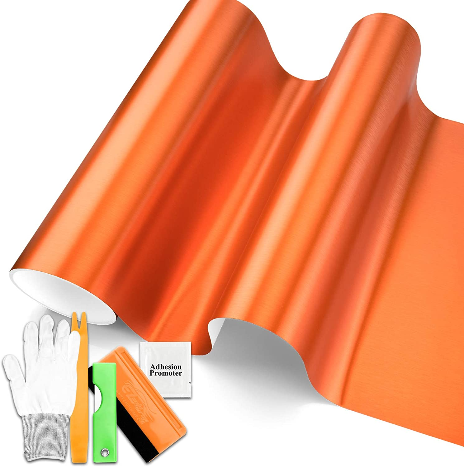 Free Tool Kit Orange Brushed Aluminum Sticker F All stores are sold Vinyl Wrap Max 41% OFF Decal