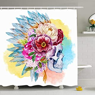 Ahawoso Shower Curtain 60x72 Inches Horror Feather War Bonnet Watercolor Skull Boho Indian Native Headdress Tattoo Tribal American Design Waterproof Polyester Fabric Bathroom Curtains Set with Hooks