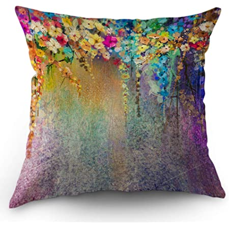 Amazon Com Moslion Floral Pillows Flower Decorative Throw Pillow Cover Watercolor Painting Flowers Pillow Case 18x18 Inch Cotton Linen Square Cushion Cover For Sofa Bed Purple Home Kitchen