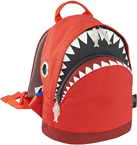 Morn Creations 3D Haifisch-Rucksack, Tasche, Schulranzen für Jugendliche rot Burgundy (100) S