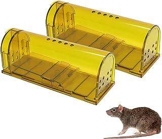 Wakana Trampa para Ratones 2 Pcs Ratonera Ratas Vivos Trampa para Ratas Ratonera de Plástico Reutilizable con Diseño de Cola Anti-Roto y Agujeros de Aire para Cocina Jardín Hogar Cocina Ático Garaje