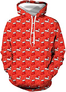 IZHH Christmas Clothes Mens Hoodie Sweatshirt Pullover Outwear 3D Print Jacket
