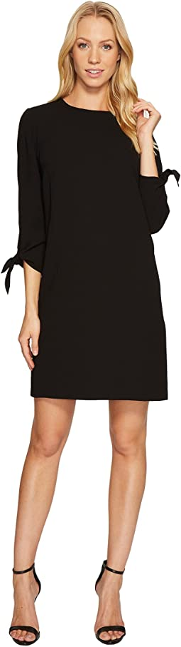 3/4 Tie Sleeve Moss Crepe Shift Dress