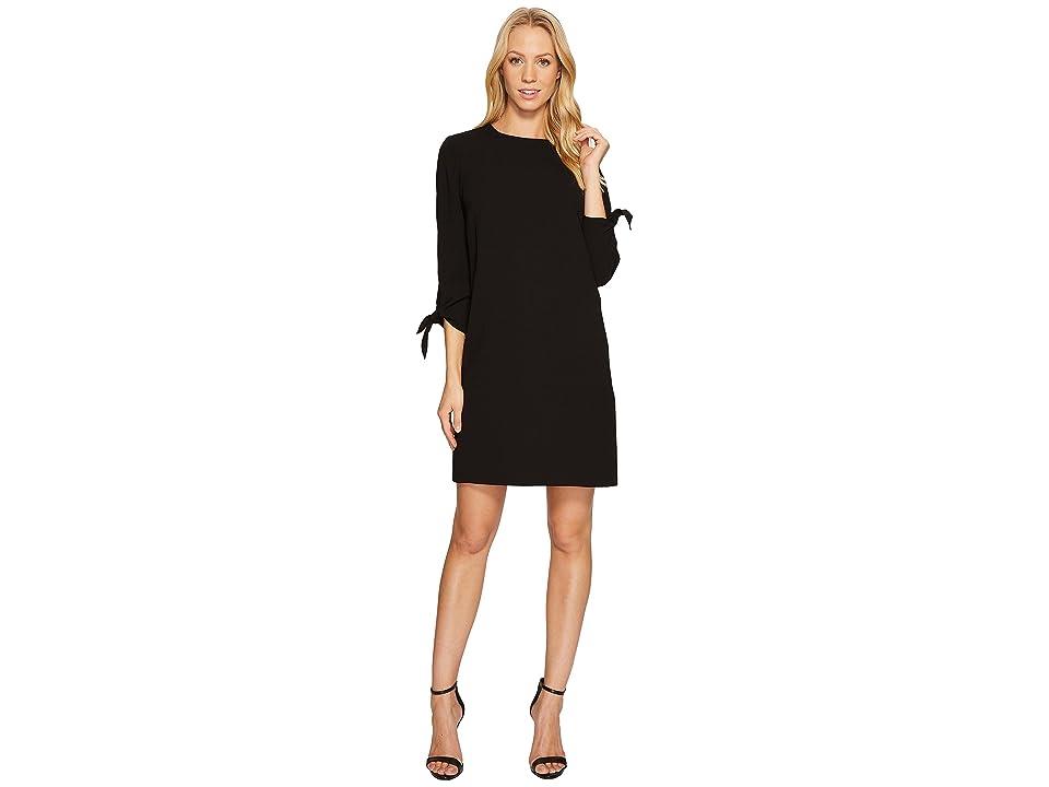 4a3ec13e96c67 CeCe 3/4 Tie Sleeve Moss Crepe Shift Dress (Rich Black) Women