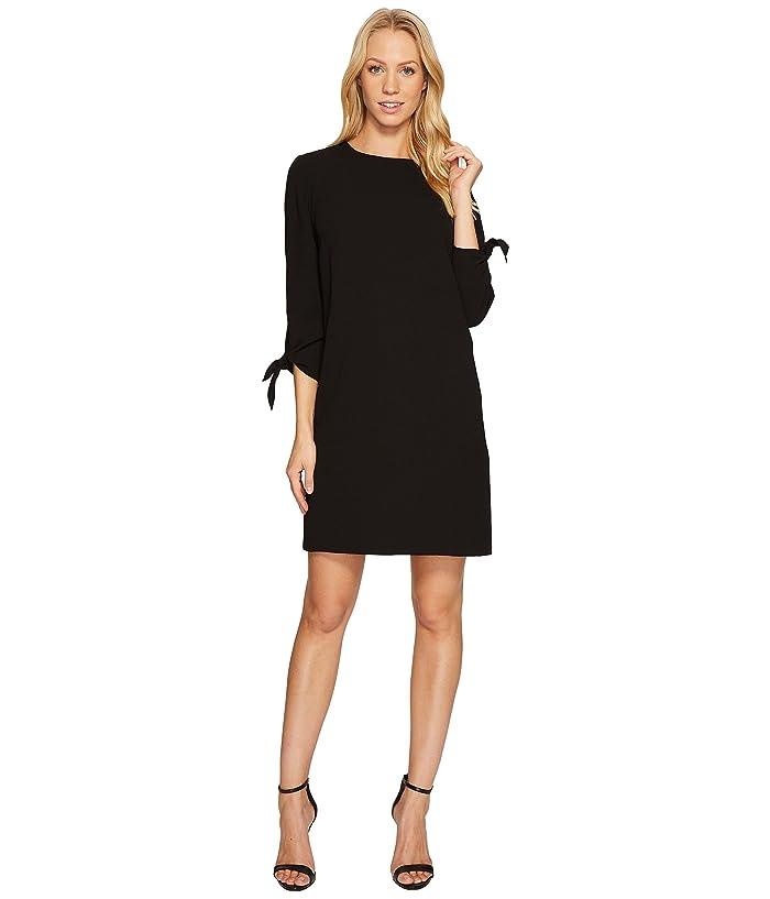 CeCe  3/4 Tie Sleeve Moss Crepe Shift Dress (Rich Black) Womens Dress
