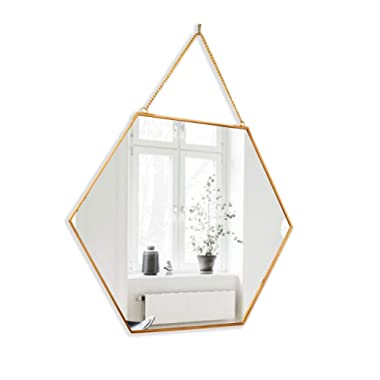 BEACH'D 16  Large Hanging Hexagon Gold Brass Wall Mirror with Chain