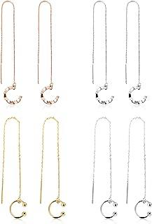 4 Pairs Drop Dangle Earrings Chain Earrings Wrap Tassel Earrings Threader Earrings for Women Daily Party Decoration