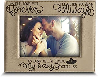 BELLA BUSTA -I'll Love You Forever,I'll Like You for Always,as Long as I'm Living,My Baby You'll be - Engraved Leather Picture Frame-Family Frame-New Baby Frame-Couple Frame(4
