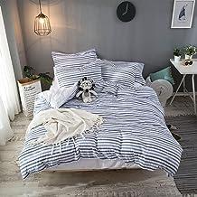 Lausonhouse Quilt Cover Set,100% Ccotton Woven Seersucker Stripe Doona Cover Set - King Bedding Set