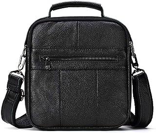 Leather Bag Men's Slant Bag Fashion Single Shoulder Bag Business Handbag (Color : Black, Size : S)