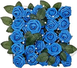 Meiliy 60pcs Artificial Flowers Royal Blue Roses Real Looking Foam Roses Bulk w/Stem for DIY Wedding Bouquets Corsages Centerpieces Arrangements Baby Shower Cake Flower Decorations