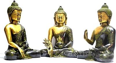 Collectible India Perfect Home Décor Set of Unique Buddha Statues - Antique Finish Rare Ashtmangal (Eight Auspicious Sign) Buddha - Set of Medicine , Ahaya and Meditating Buddha