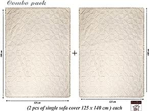 Saral Home Soft Cotton Unique Firki Design Tufted Throw/Sofacover Set of 2 Pc -140x125 cm,Ivory