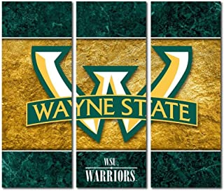 Victory Tailgate Wayne State University Warriors Triptych Canvas Wall Art Double Border (48x54 inches)