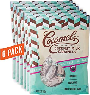 Cocomels Coconut Milk Caramels, Sea Salt Flavor, Organic, Dairy Free, Vegan, Gluten Free, Non-GMO, No High Fructose Corn Syrup, Kosher, Plant Based, Individually Wrapped Candy, (6 Pack)