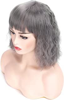 Morvally Short Curly Wavy Bob Wig with Bangs Natural Heat Resistant Synthetic Hair Cosplay Costume Haloween Party Wigs (Silver Gray)