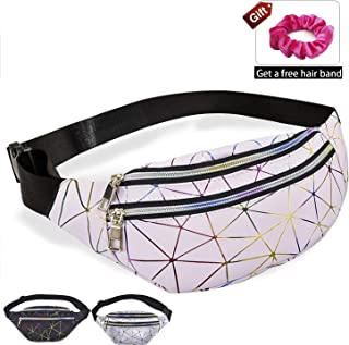 Fashion Fanny Pack with 3 Pouches, Cute Waterproof Waist Bag with Adjustable Belt for Women