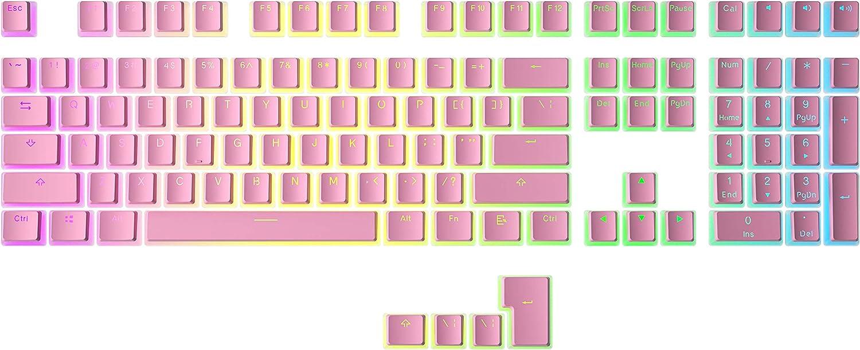 HK Gaming Doubleshot PBT Pudding Keycaps - 108 Keys, White
