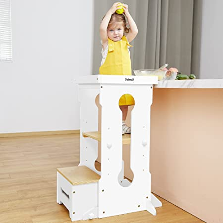 Bateso Step Stool for Toddlers, Kids Step Stool with Standing Platform of 4 Adjustable Heights, Kitchen Toddler Tower Learning Stool, Toddler Step Stool for Kitchen Counter, Bathroom Sink