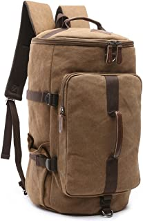 HB-26 Canvas Men Weekend Travel Duffel Bag Backpack Hiking Rucksack(Coffee)