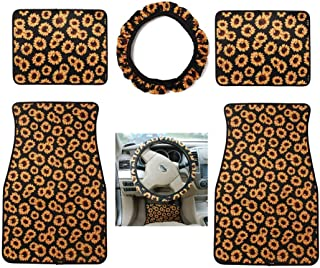 Neoprene Automotive Steering Wheel Cover with Neoprene Sunflower Car Front Rear Floor Foot Mats Fit for Most Cars 5pcs/Set