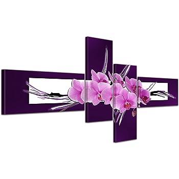 Cuadros en Lienzo - Arte abstracto orquídea - 140x65cm 4 partes - Listo tensa. Made in Germany!!!: Amazon.es: Hogar