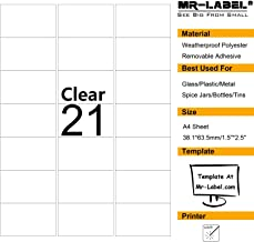 Mr-Label Clear Removable Waterproof Adhesive Spice/Seasoning Labels - Laser Print Only (21 labels per sheet, 10 A4 sheets)