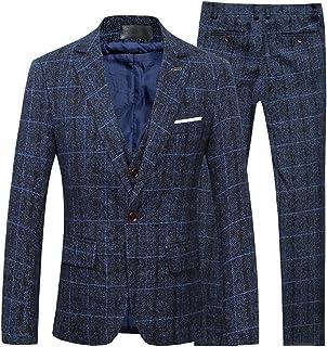 Cloudstyle Men's Retro Vintage Tweed Checked Herringbone Slim Fit Suit