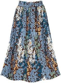 neveraway Womens Plus Size Slim Casual Maxi and Midi Printing Highwaist Skirt